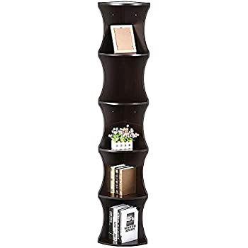Yaheetech 5 Tier Brown Round Wall Corner Shelf Stand Storage Skinny Display Bookshelf Rack Casual Home Office Furniture