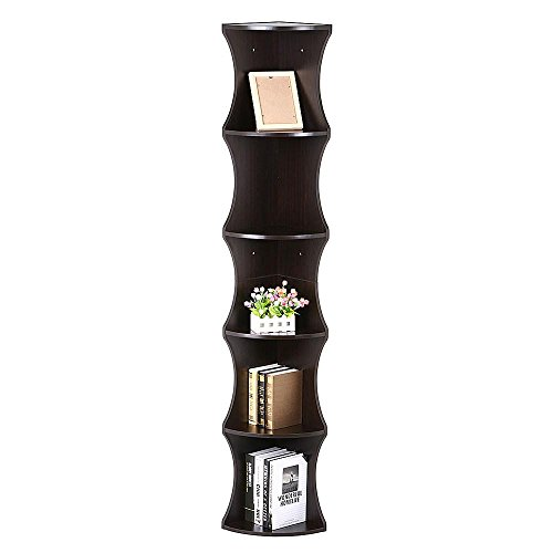 (Yaheetech 5 Tier Brown Round Wall Corner Shelf Stand Storage Skinny Display Bookshelf Rack Casual Home Office)