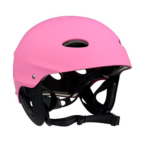 Dovewill Professional Safety Kayak Helmet Hard Hat Canoeing Rafting Surfing Watersports Head Portector Pink - Adjustable Head Size