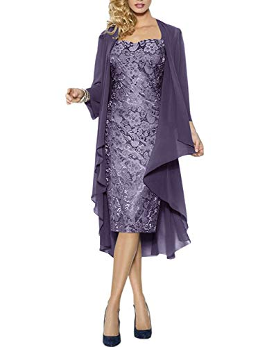 Lace Mother of The Bride Dress Sheath Formal Gown Chiffon Jacket Tea Length Charcoal