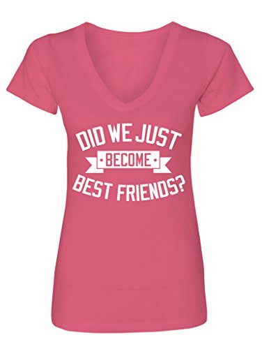 Brother Womens V-neck T-shirt - Manateez Women's Step Brothers Did We Just Become Best Friends V-Neck Tee Shirt Medium Hot Pink