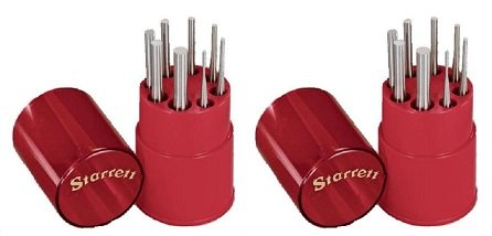 Starrett S565WB Drive Pin Punch 8-Piece Set, 1/16''-5/16'' Pin Diameters, 4'' Overall Length, In Plastic Case (2-(8-Piece Set))
