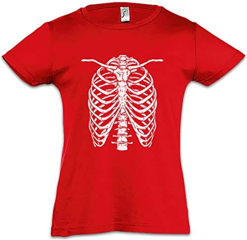 Skeleton I Kids Girls Children T-Shirt Bones Knochen Skelett Halloween Karneval Fastnacht Fasching Skull Schäel Fear The Red ()