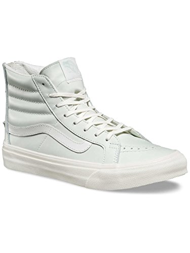 Vans SK8-Hi Slim Zip (Leather) Mens Skateboarding-Shoes VN-A38GRMRI_8.5 - Zephyr Blue/Blanc DE Blanc (Vans Sk8 Hi Zip)