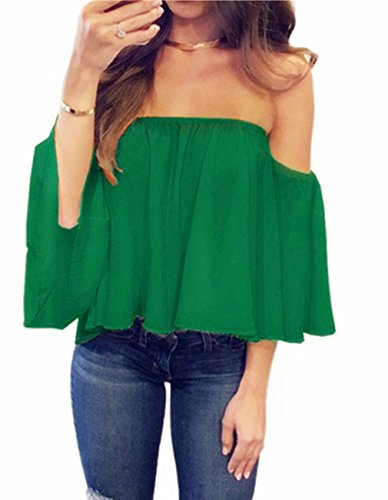 Miskely Women's Summer Off Shoulder Blouses Short Sleeves Sexy Tops Chiffon Ruffles Casual T Shirt (S, Green)