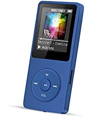 AGPTEK A02 8GB MP3 Player, 70 Hours Playback Lossless Sound Music Player (Supports up to 128GB), Dark Blue