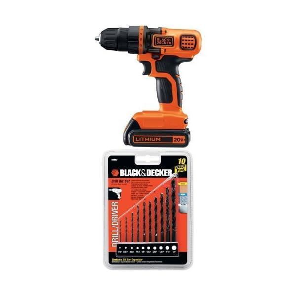 Black-Decker-LDX120C-20-Volt-MAX-Lithium-Ion-Cordless-DrillDriver-w-15557-Drill-Bit-Set-10-Piece