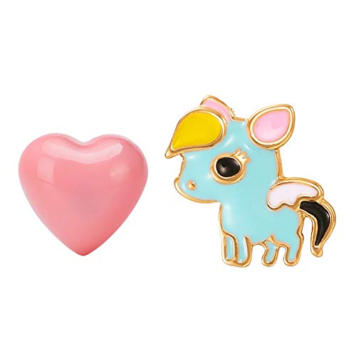 FAMARINE Unicorn Pink Heart Stud Earrings Enamel Cute Funny Animal Earring for Teen Girls Women Kids Children Gifts, Blue Pink