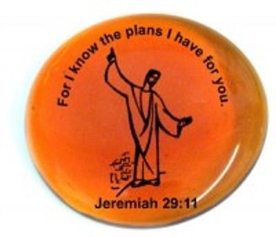 [For I Know The Plans I Have For You. Jeremiah 29:11 (Jesus Pictured) Colored Glass Imprinted Christian Scripture Stones] (Pictured Stone)