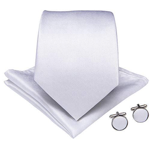 Check Square Cufflinks - DiBanGu Solid White Ties Mens Silk Necktie Pocket Square Cufflinks Set Party Wedding