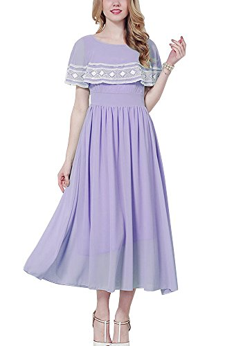 Fit Long Party Hülse und Kleid Frauen lila Cape Flare ONECHANCE Weich Dolman Chiffon Maxi vSqwzX
