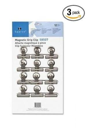 Sparco Bulldog Clip, Magnetic Back, Size 2, 2-1/4-Inch Wide, 1/2-Inch Capacity, 12 per Box, SR (SPR58507) 3-PACK by Sparco
