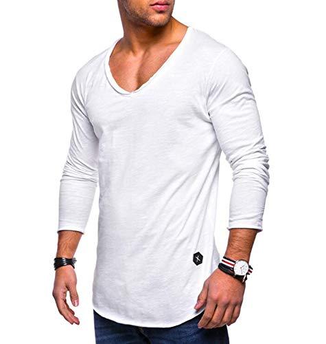 A Maglietta Uomo Accogliente Sottile Lunga Huateng Manica Tinta Pullover Camicia Tempo Libero Scollatura Unita Bianca Cuore Sportiva qTpHwUtp