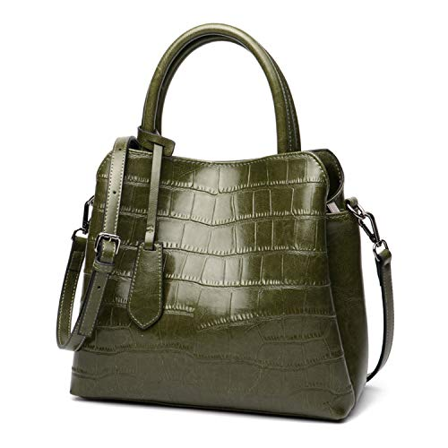 Split Leather Ladies Striped Decorative Handbag Top Classic Large Capacity Multi-Function Handbag,green