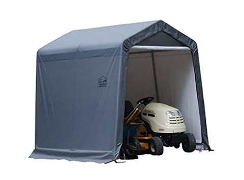 ShelterLogic Shed-in-a-Box with Auger Anchors, Peak, Gray (Corrosion Blocker)