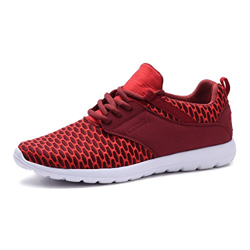 COODO CD9005 Men's Lightweight Fashion Sneakers Breathable Mesh Casual Sport Shoes RED-9.5 (Mens Red Sneakers)