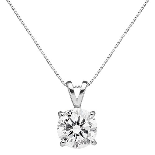 14K Solid White Gold Pendant Necklace | Round Cut Cubic Zirconia Solitaire | 2.0 Carat | 16 Inch .60mm Box Link Chain | With Gift Box