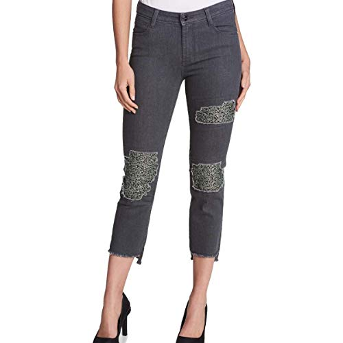 DKNY Womens Cropped Mid-Rise Skinny Jeans Gray 27