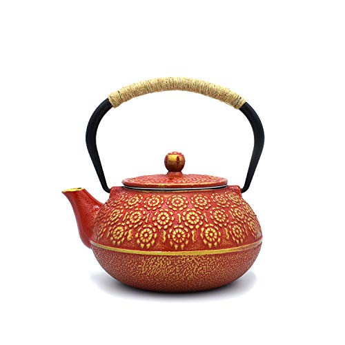 JINGYAT Cast Iron Teapot (30 Oz) Japanese Tetsubin Tea Kettle Durable Cast Iron with Tea strainer and a Fully Enameled Interior