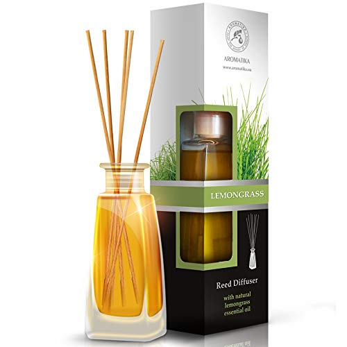 Lemongrass Diffuser w/Lemongrass Oil 100ml - Scented Reed Diffuser - 0% Alcohol - Diffuser Gift Set - Best for Aromatherapy - Room Air Fresheners - Lemongrass Essential Oil Diffuser by Aromatika