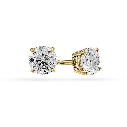 1/3 Carat Total Weight Round Diamond Stud Earrings 14k Yellow Gold IGI Certified (J-K,I1) by Shine On
