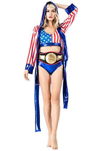 (Fancycloth Women Adult Boxer Halloween Boxing Costume)