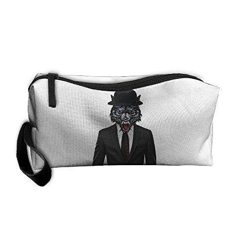 Cosmetic Bags With Zipper Makeup Bag Suit Wolf Man Middle Wallet Hangbag Wristlet Holder -