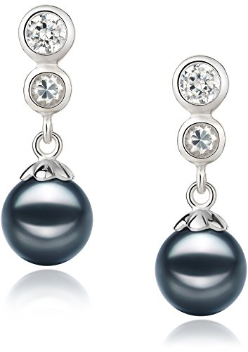 Colleen Black 7-8mm AA Quality Japanese Akoya 925 Sterling Silver Cultured Pearl Earring Pair by PearlsOnly