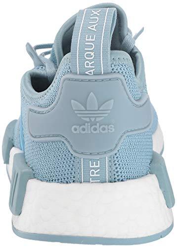 adidas Originals Unisex NMD_R1 Running Shoe, ash Grey/Shock Cyan/White, 3.5 M US Big Kid by adidas Originals (Image #2)