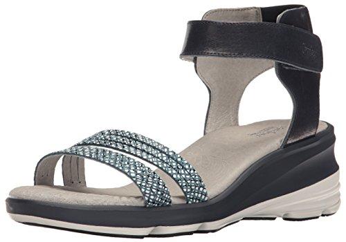 Jambu Women's Santorini Wedge Sandal, Navy, 11 M (Navy Snake Leather Footwear)