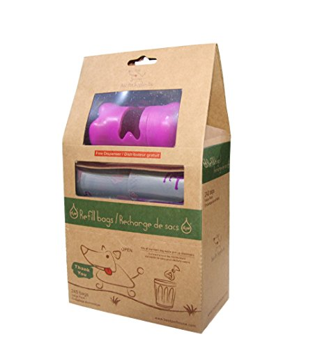 Best Pet Supplies, Inc. Scented Refill Rolls/Poop Bags with Free Dispenser - Pink Dogs on Silver (240 Bags)