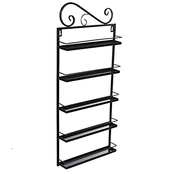 Oguine 5 Tier Metal Nail Polish Wall Mount Stand Rack Organizer Shelf for 50 Nail Polishes at Home Business Spa Salon