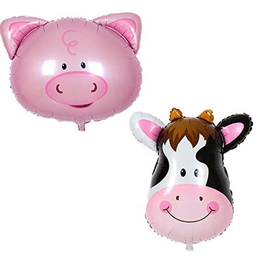 Barn Farm Animals Birthday Party Baby Shower Decorations Supplies (1x Gaint Cow & 1x Pig Mylar Foil Balloon) ()