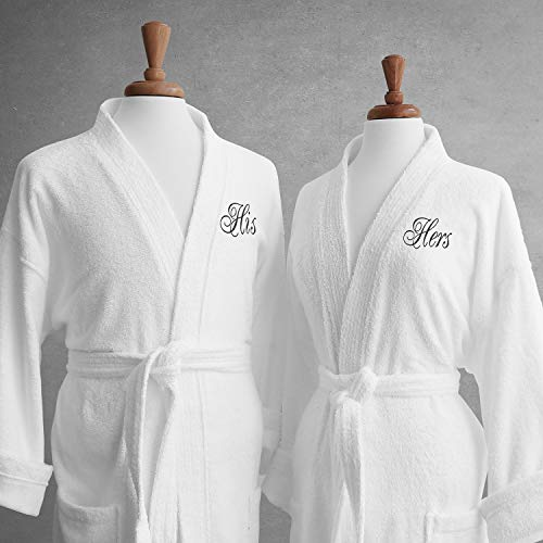 Luxor Linens Couple's Terry Cloth Bathrobe Set-100% Egyptian Cotton-Unisex/One Size Fits Most-Luxurious, Soft, Plush, Elegant Script Embroidery His & Hers with Gift Packaging