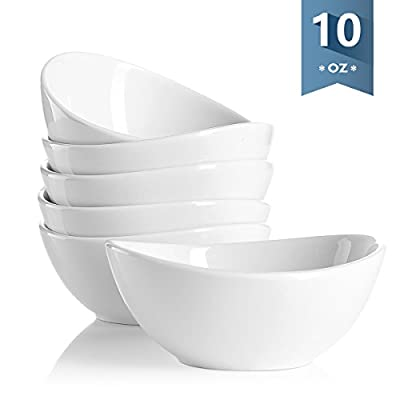 Sweese Porcelain Bowls - 10 Ounce for Ice Cream Dessert, Small Side Dishes - Set of 6