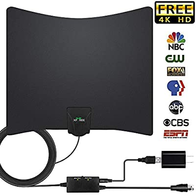 TV Antenna, 2019 Newest HDTV Indoor Digital Amplified TV Antennas 130 Miles Range with Amplifier TV Signals, HDTV Antenna for 4K HD HD VHF UHF Free Local Channels Support All TV's-17ft Coax Cable