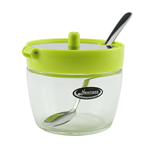 Small Sugar Bowl, Newness Clear Glass, Stainless Steel and Plastic Sugar Bowl with Lid and Sugar Spoon for Home and Kitchen, 7.09 Ounces(210 Milliliter), (Green Porcelain Jar)