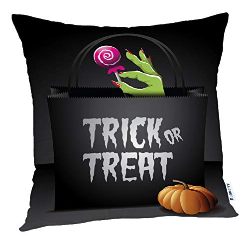 Batmerry Halloween Pillow Covers 18x18 inch,Trick Treat Halloween Bag Free Stock Greeting Social Candy Evil Throw Pillows Covers Sofa Cushion Cover Pillowcase -