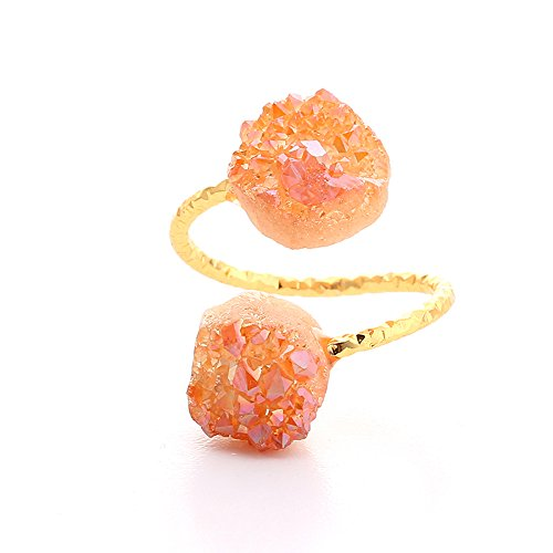 - Natural Freeform Druzy Stone Adjustable Rings Fashion Open Rings for Women Jewelry 6 Colors (Champagne)