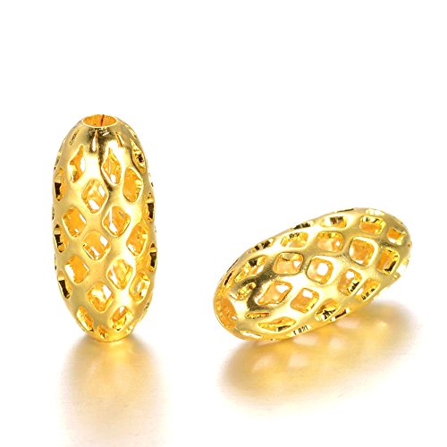 Pandahall 30pcs Golden Filigree Hollow Oval Rice Spacer Beads for Jewelry Makings 11x5mm