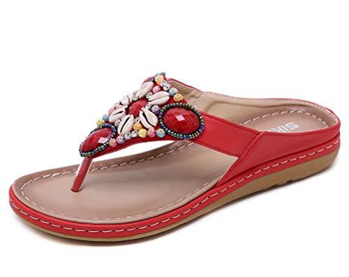 (Women's Jewel Bohemian Beach Summer Sandals Comfort Thong Flip Flops US Size 7 Red)