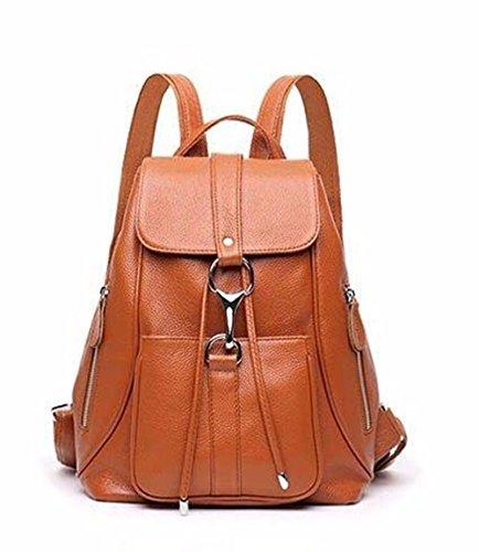 WanJiaMen'Shop Bolsa de Dama de Cuero Bolso de Cuero Bolso Mochila de Ocio de Gran Capacidad, 25 * 13 * 32cm, Marrón Brown