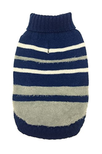 Fashion Pet 601934 Blue Looking' Good! Variegated Striped Sweater, Small