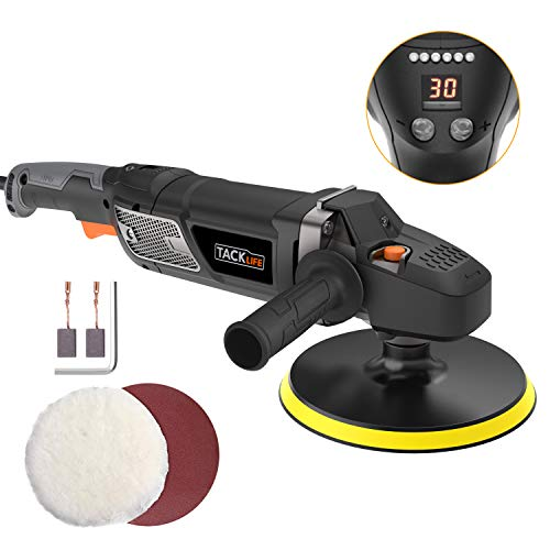 Buffer Polisher,Tacklife 7-Inch 12.5Amp 1500W Variable Speed Polisher,With Digital Screen, Lock Switch, Detachable Handle, Ideal For Car Sanding, Polishing, Waxing, Sealing Glaze - PPGJ01A