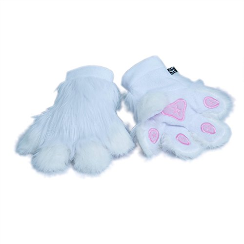 [Pawstar Paw Mitts Furry Animal Hand Paws Costume Gloves Adults - White] (White Rabbit Dance Costumes)