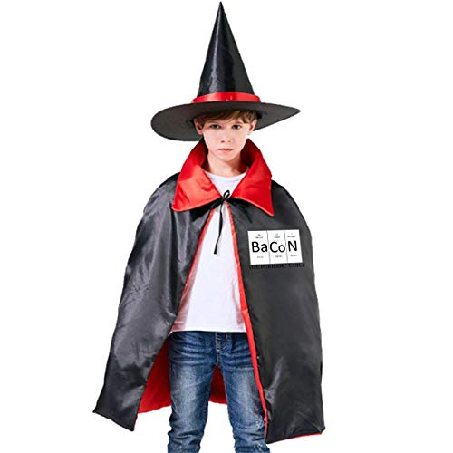 Children Bacon Periodic Table Science Chemistry Halloween Party Costumes Wizard Hat Cape Cloak Pointed Cap Grils -