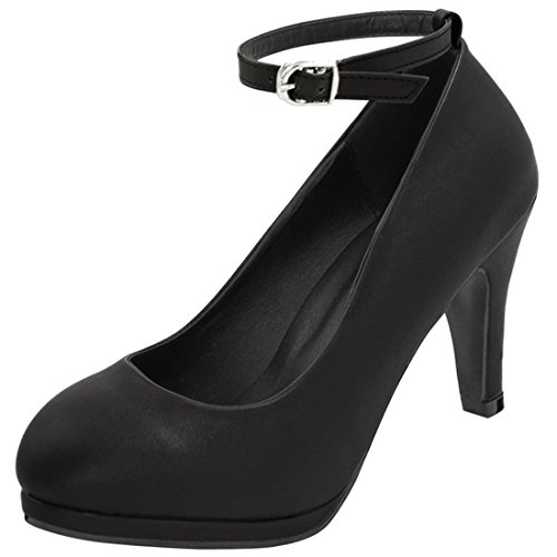 Allegra K Womens Rounded Toe Ankle Strap Pumps Black