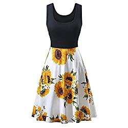 Euone Dress Women Vintage Sunflower Print Dress Pleated Sway Patchwork Summer Casual Dresses Elegant Sleeveless O Neck Short Sundress Plus Size