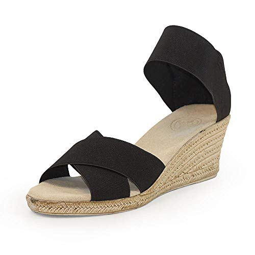Cannon Criss-Cross Espadrille Wedge Sandal - Black - Size 6 - by Charleston Shoe Co.