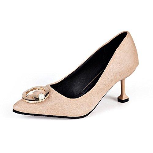 Donna Kaki Punta per Giallo Casual Heel Comfort Nero DIMAOL Cadere Stiletto Tacchi PU Scarpe Kaki Il RWpw7cxSq5